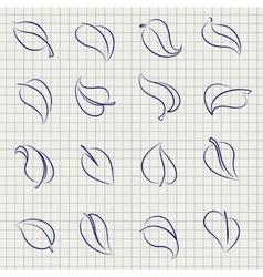 Outline sketch leaves set vector image