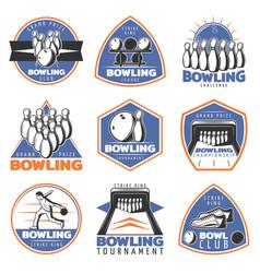 Colorful vintage sport recreation emblems set vector