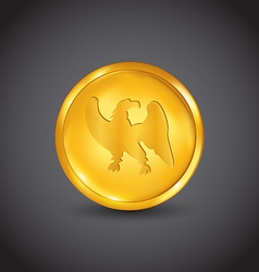 Golden coin with eagle vector