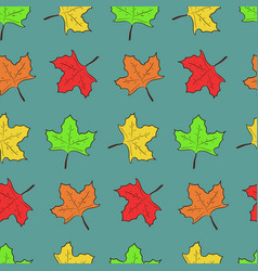 pattern with cute maple leaves on blue background vector image