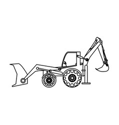 excavator or backhoe construction heavy machinery vector image