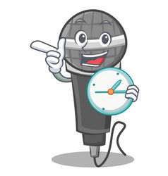 With clock microphone cartoon character design vector