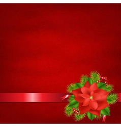 Red Background With Poinsettia And Ribbons vector image
