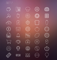 Thin icon set 7 vector