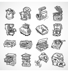 Kitchen equipment sketch vector