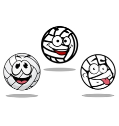 White cartoon volley balls characters vector image