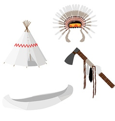 Native american set white vector