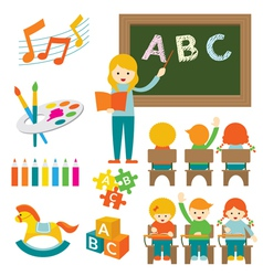 Kindergarten preschool teacher and kids set b vector