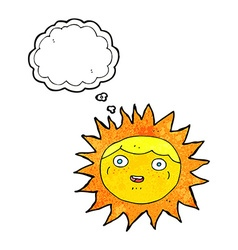 Sun cartoon character with thought bubble vector