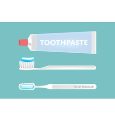 Isolated toothpaste and tooth brushes vector