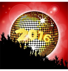 New years party 2016 with disco ball and crowd vector