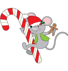Candy cane mouse vector
