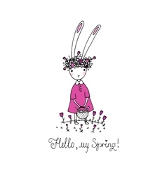 Easter bunny in a wreath vector