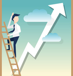 a businessman climbs ladders symbol for startup vector image