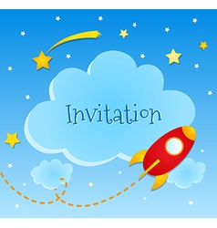 Blue invitation card with clouds and spaceship vector