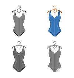 blue swimsuit with sunflowers swimsuit for vector image vector image