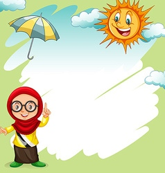 Border design with girl and sunny vector
