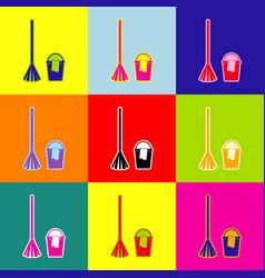 Broom and bucket sign pop-art style vector