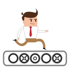 Businessman running over gears icon vector