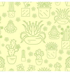 Cactuses and succulents seamless pattern thin line vector