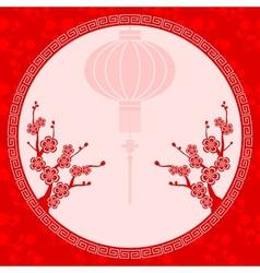 Chinese Lantern Cherry Blossom vector image