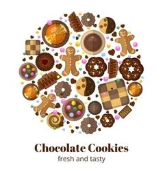 Chocolate christmas cookies vector