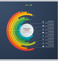circle informative infographic design 8 options vector image vector image