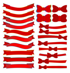 collection of red christmas ribbons vector image vector image