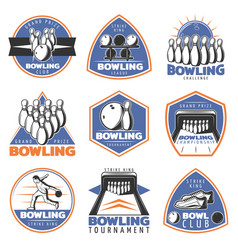 Colorful vintage sport recreation emblems set vector