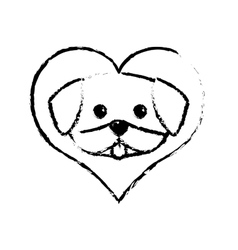 Dog cute tongue out love sketch vector