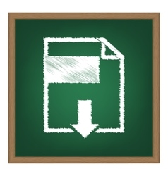 File download sign white chalk effect on green vector