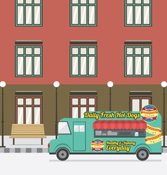 Food truck parking at the empty street vector