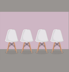 Four white modern chair vector