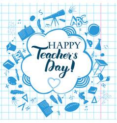 Happy teacher day inscription vector