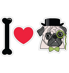 I love pugs with monocle tie bow and hat vector