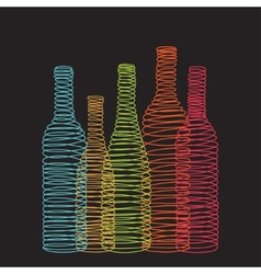 Isolated abstract spiral wine bottles vector