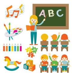 Kindergarten preschool teacher and kids set b vector