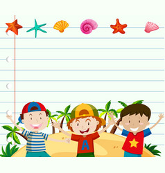 line paper template with cute boys vector image