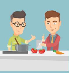 Men cooking healthy vegetable meal vector