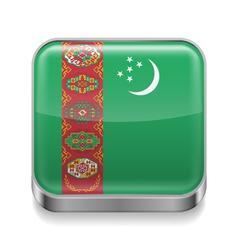 Metal icon of turkmenistan vector