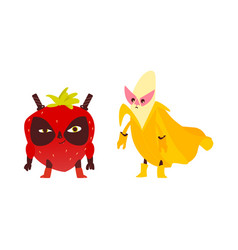 Ninja strawberry and superhero banana characters vector