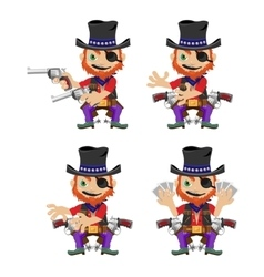 One-eyed bandit with guns character in four poses vector