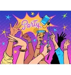 Party dancing selfie drinks vector