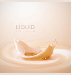 peach or apricot flavor yogurt crown splash vector image vector image