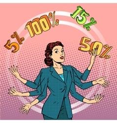 Promotions discounts sale businesswoman juggling vector