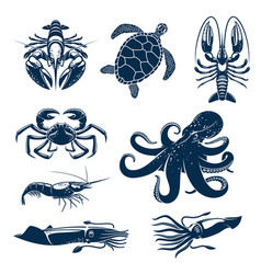 seafood marine animal icon set for food design vector image
