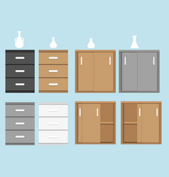 Set of cabinet in flat style and vase vector