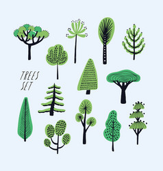 set of cartoon doodle trees beautiful hand drawn vector image vector image
