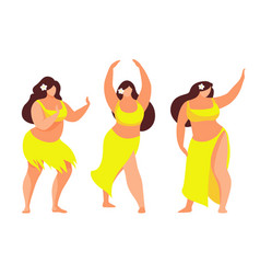 set of hawaiian hula dancer vector image