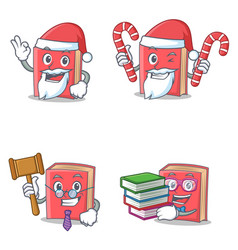 Set of red book character with santa candy judge vector